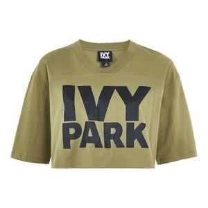 Olive Green Ivy Park Logo Crop V-Neck (Size XS)